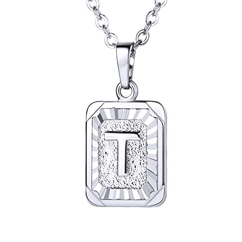 Gold Charm Square - U7 A-Z 26 Letters Pendant Men Womens Fashion Jewelry Platinum Plated Square Pendants Capital Initial Necklace (T)