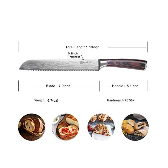 Bread Knife - PAUDIN Ultra Sharp Serrated Knife 8 Inch, German High Carbon Stainless Steel Cake Slicer, Ergonomic Handle… 7 CLASSIC BREAD KNIFE: You can easily handle your daily tasks of slicing of all types of bread. It can be also used for pastry, cakes and all vegetables (including tomatoes). ULTRA-SHARP SERRATED EDGE: This 8 inch bread knife is made from the high quality German stainless steel(5Cr15MoV), with an exceptional and enduring sharp serrated edge. ERGONOMIC PAKKAWOOD HANDLE: This knife gives you stability and control for sure, safe handling during meal preparation, even when wet. The ergonomics shape enables the right balance between the handle and the thin blade, ensuring ease of movement.