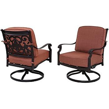 Darlee St. Cruz Cast Aluminum Swivel Rocker Club Chair With Seat And Back  Cushion,