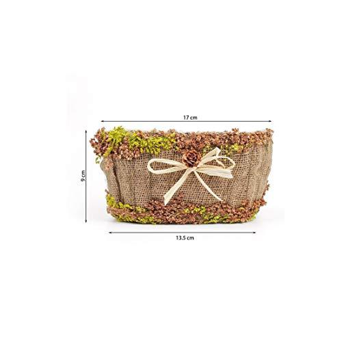 - Creative Handmade Artificial Flowers hay Hemp Rattan Flower Basket Gardening Potted Storage Box DIY Wedding Home Decoration,1