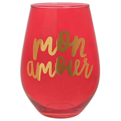 30oz Red Stemless Wine Glass - Mon Amour (My Love).