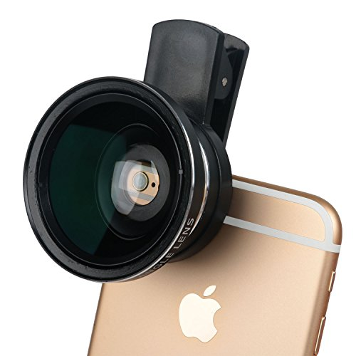 Leeko Professional HD Mobile Camera Lens Kit 0.45X Super Wide Angle Lens + 12.5X Macro Lens,2 in 1 Clip On Cell Phone Lens for iPhone 6s / 6 Plus / 5s, Samsung Galaxy and Most Smartphones (Black) (No Type Yout compare prices)