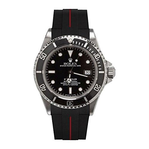 [ラバービー] RubberB ラバーベルト ROLEXシードゥエラー専用ラバーベルト(ROLEX純正バックルを使用)(ブラック×レッド)※時計は付属しません(Watch is not included)[並行輸入品]  B01I6JFCKE