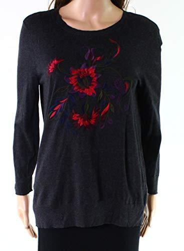 Cashmere Lauren Cardigan - Lauren Ralph Lauren Womens Rashida Floral Embroidered Sweater Gray XL