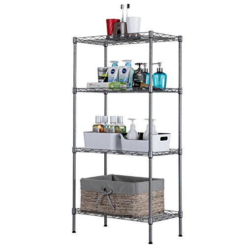 SINGAYE Adjustable Storage Rack Wire Shelving Garage Storage Shelves Unit Shelving Silver Mesh Shelving Unit Metal Standing Cart for Pantry Closet Kitchen Laundry 23.2