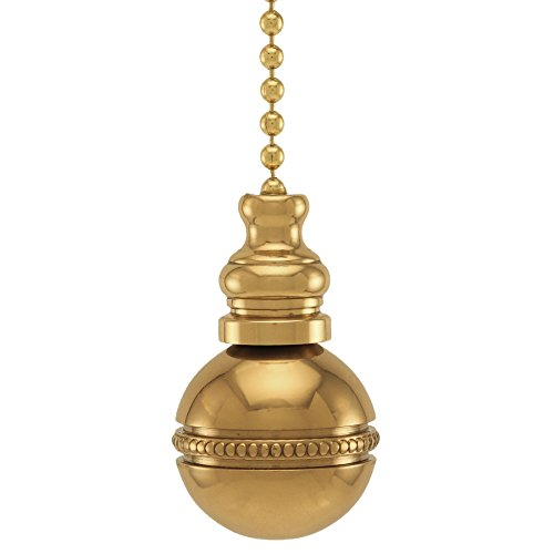 Polished Brass Beaded Ball Fan Pull 1''h by Finial Showcase