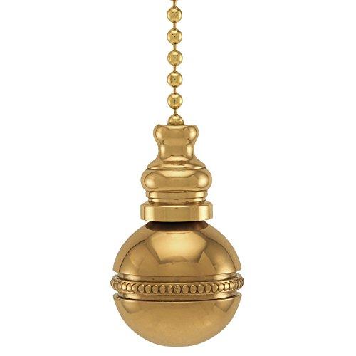 "Polished Brass Beaded Ball Fan Pull 1""h"