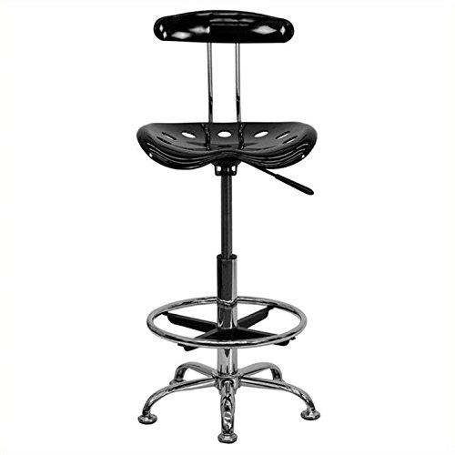 Scranton and Co Drafting Chair Seat in Black and Chrome