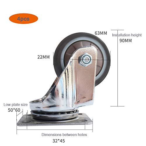 Casters 63mm Wheels Nylon Wheel with Fixed Plate, Heavy Industrial Transport, Trolley Furniture Replacement, 4pcs ()