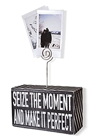 Sarco & Friends Home Decor Decorative 5'' x 3'' Photo Block Picture Holder Box Sign with Rustic Wire to Hang Pictures, Photographs, and Polaroids - Perfect for Gift or Brightening - Sign Blocks Decor