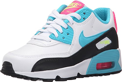 Nike Air Max 90 LTR White/Gamma Blue-Pink Blast-Ghost Green (GS) (5 Big Kid M) ()