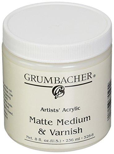 Grumbacher Artists' Acrylic Matte Medium and Varnish , 8 oz. (Matte Finish 8 Oz Jar)
