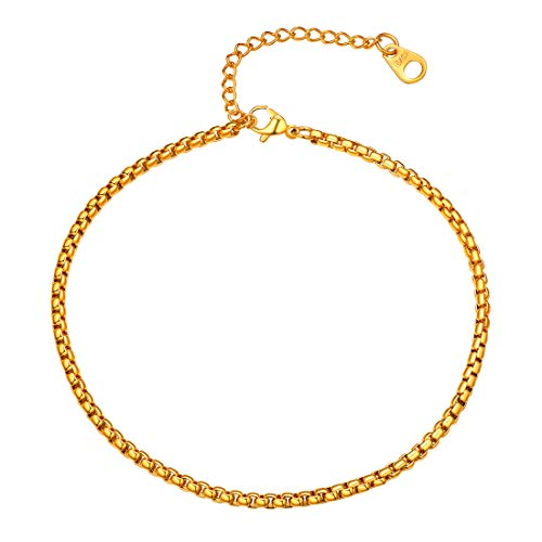 U7 3mm Box Chain Anklets Bracelet 18K Gold Plated Stainless Steel Barefoot Jewelry Vacation Gift for Women Girls, 25CM-30CM