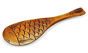 Handcrafted wooden ladle rice scoop paddle with japanese carp fish design