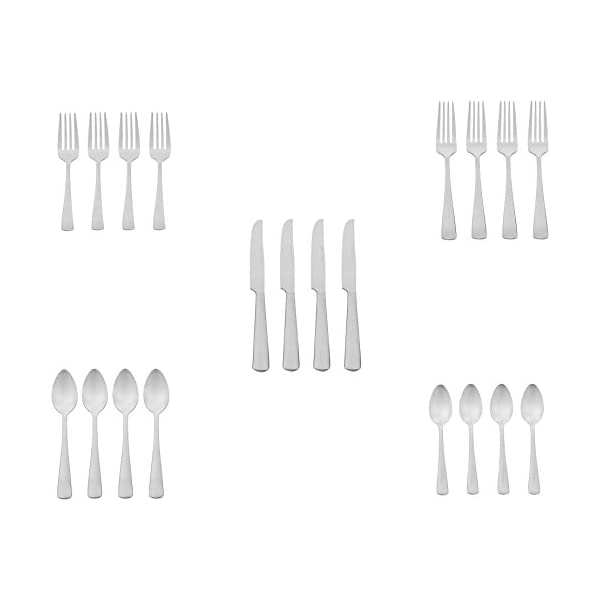 Amazon Basics 20-Piece Stainless Steel Flatware Set with Square Edge, Service for 4 4