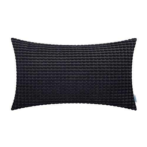 CaliTime Cozy Bolster Pillow Cover Case for Couch Sofa Bed Comfortable Supersoft Corduroy Corn Striped Both Sides 12 X 20 Inches Black