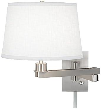 possini euro design white linen swing arm with cord cover. Black Bedroom Furniture Sets. Home Design Ideas