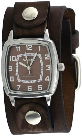 Nemesis NFB017B Men s Vintage Square Collection Brown Wide Leather Band Watch