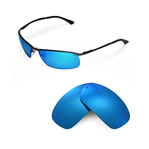 Walleva Replacement Lenses for Ray-Ban RB3183 63mm Sunglasses - Multiple Options Available (Ice Blue Coated - - Rb3183 Lenses