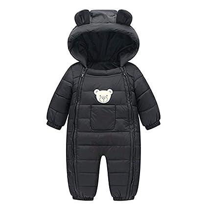 Mono Abrigada Bebé, LANSKIRT Recién Nacido Bebé Niño Niña Mamelucos de Invierno Ropa de Algodón Grueso Mono con Capucha de Ropa Abrigada