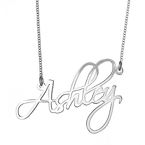 Script Name Earrings - Ouslier 925 Sterling Silver Personalized Script Name Necklace Custom Made with Any Names (Silver)