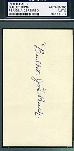 BULLET JOE BUSH PSA DNA COA Autograph 3x5 Signed Index Card