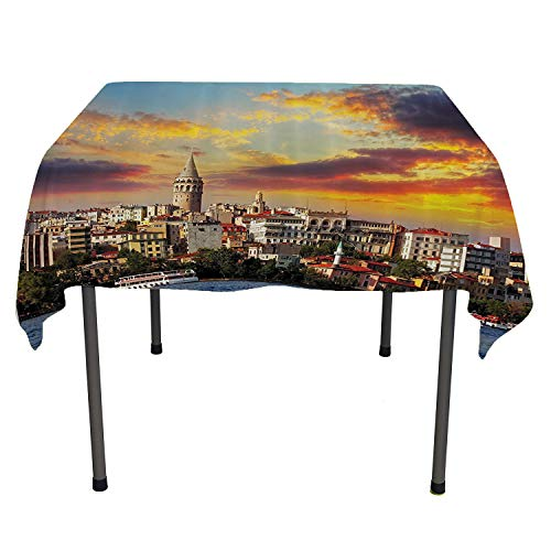 European Cityscape Decor Collection, Wipeable Table CoverIstanbul at Sunset with The Sea Capital of Byzantine Old Roman Ancient Tower Print, Home Decoration Outdoor, 50x50 Inch Multi