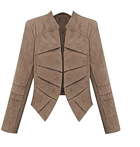 OULIU Womens Fashion Faux Suede Slim Fit Short Blazer Jacket Coat Khaki M - Faux Suede Blazer