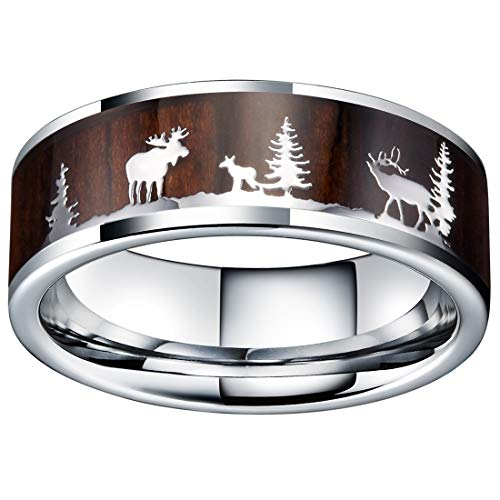 - King Will Nature Mens 8mm Tungsten Carbide Wedding Ring Christmas Pattern Wood Inlaid Background Flat Style 8