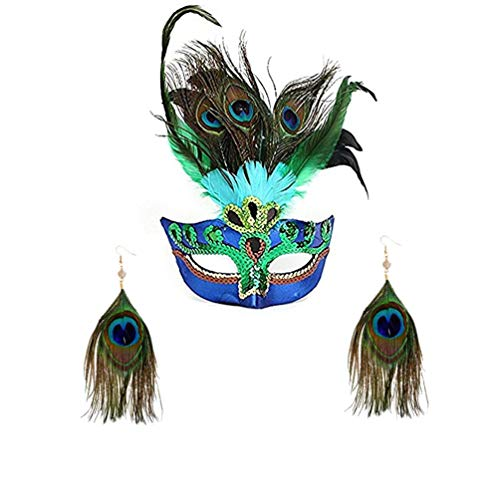 Party Mask Woman Female Masquerade Masks Luxury Peacock Feathers Half Face Mask Party Cosplay Costume Halloween Venetian Mask(Send Earrings) -