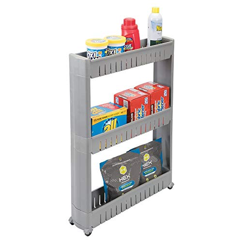 mDesign Portable Slim Plastic Rolling Laundry Utility Cart Organizer Trolley - Easy-Glide Wheels and 3 Heavy-Duty Shelves, for Laundry, Utility Room, Kitchen or Pantry Storage - Gray