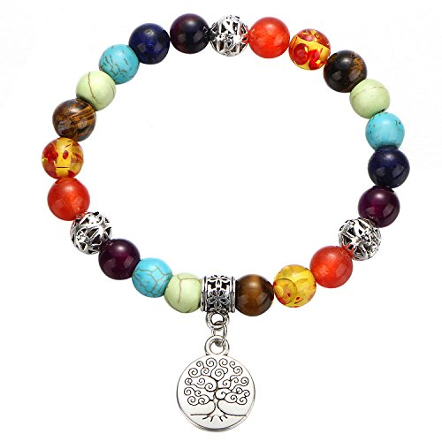 - 17mile 7 Chakra Healing Natural Colorful Stone Yoga Gemstone Bracelet Tree of Life Charm Gifts for Women and Girls