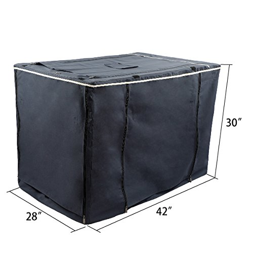 """Petsfit Oxford Cloth Pet Kennel Cover for Wire Dog Crates 42""""L x 28""""W x 30""""H, With Three-Side and Top Windows, Back Zipper, Dark Blue by Petsfit (Image #2)"""