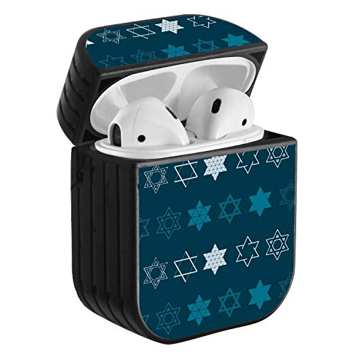 Compatible with Airpods 2 & 1, Shockproof Portable Protective Hard Cover Case with Neck Lanyard Strap - Star of David Traditional Jewish Symbol