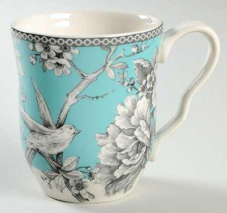 222 Fifth Eliza Teal Turquoise Coffee Mugs - Set of 4