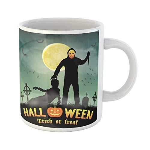 (Semtomn Funny Coffee Mug Hockey Psycho Serial Killer Knife in Graveyard Kill Mask Shadow 11 Oz Ceramic Coffee Mugs Tea Cup Best Gift Or)