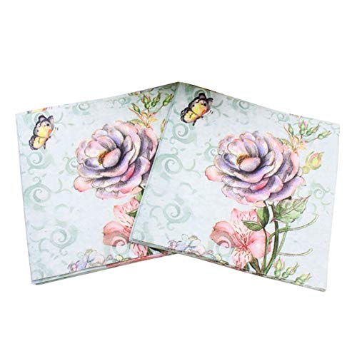 Btbtoc Printed Feature Rose Paper Napkins for Party Decoration, Watercolor Florals Napkin Floral Garden Party Tableware,20Pieces, Made from Paper, Multi Color (Chinese Rose)