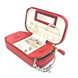 travel jewelry case red - Vlando Small Travel Tassel Jewelry Box Organizer - Woman Girls Faux Leather Handbags (Red)