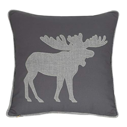 Millianess Moose Pillow Case Decorative Cotton Linen Embroidered Cushions Covers 18×18 Inches (Grey)