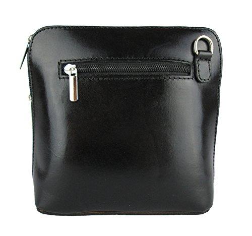 Clutch borsa con tracolla in vera pelle Made in Italy nero