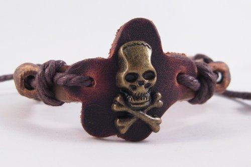 Mens Adjustable Tribal Leather Skull Bracelet (Leather Skull Tribal)