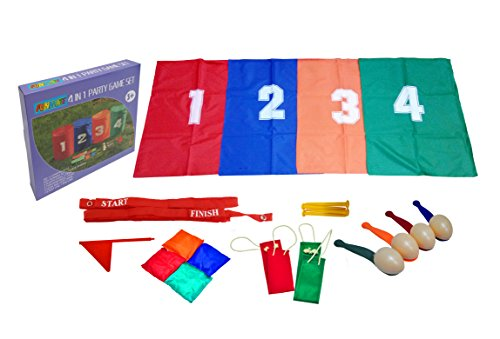 (Heemika Birthday Party Game - 4 Fun Outdoor Games For Kids, Sack Race Bags,Egg and Spoon Race Game , 3-Legged Relay Race and Bean Bag Toss Game, 4 Carnival Backyard)
