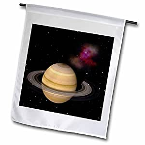 Unique Saturn With Its Rings And Space Dust In A View As We Approach With The Sun At Our Back Decorative Garden Flag for Home Indoor Outdoor Durable Polyester Flag 12 x 18 Double Sides