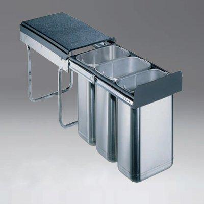 edelstahl abfallsammler dreifach getrennt je 10 liter edel-30-3h ... - Küche Abfallsammler