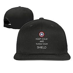 BestSeller Unisex Keep Calm And Captain America Shield Flat Snapback Adjustable Baseball Caps Hats