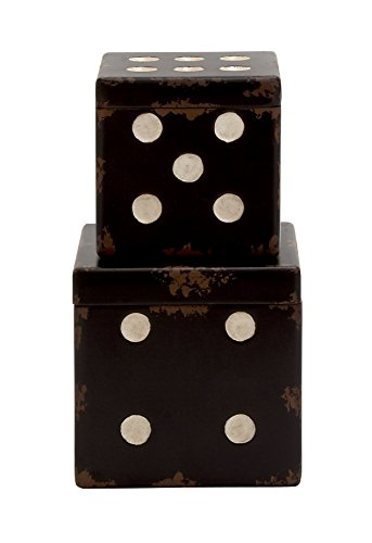 Deco 79 Wood Dice Box, 9 by 7-Inch, Set of 2 - Wood Dice Box
