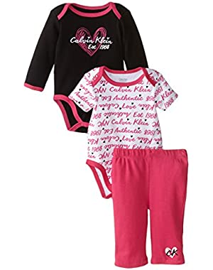 Baby Girls' Long and Short Sleeve Creeper with Pants