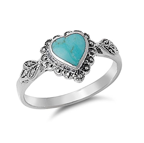 Heart With Leaves Design Band Ring 925 Sterling Silver Size 4 ()