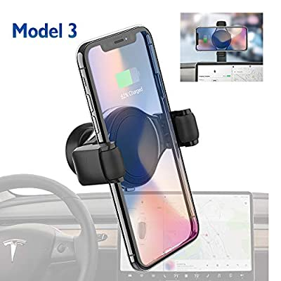 Tesla Model 3 Wireless Charger Phone Holder/Mount for iPhone, Samsung and All, Dashboard/Console 360 Rotation Phone Stand, T-Mount by Plafnio
