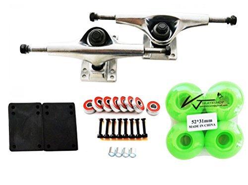 VJ 5.0 Skateboard Trucks (Silver), Skateboard Wheels 52mm, Skateboard Bearings, Skateboard Pads, Skateboard Hardware 1'' (52mm Light Green) by VJ